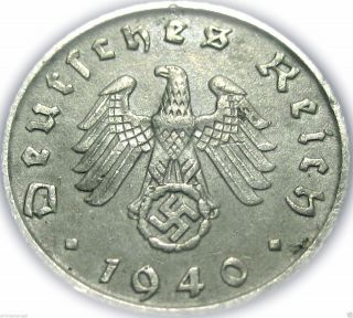 ♡ Germany - German Third Reich 1940f 5 Reichspfennig - Ww2 Coin W/ Swastika photo