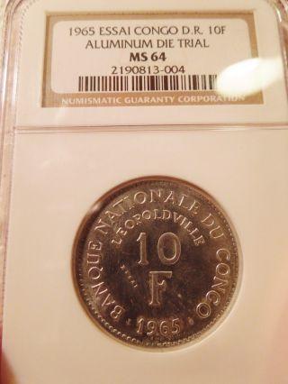1965 Congo Democratic Republic 10 Francs Essai In Aluminum Ngc Ms64 Scarce photo