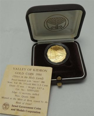 Israel 1984 Holy Land Sites Jerusalem Kidron Valley Pr Coin 1/4oz Gold +box +coa photo