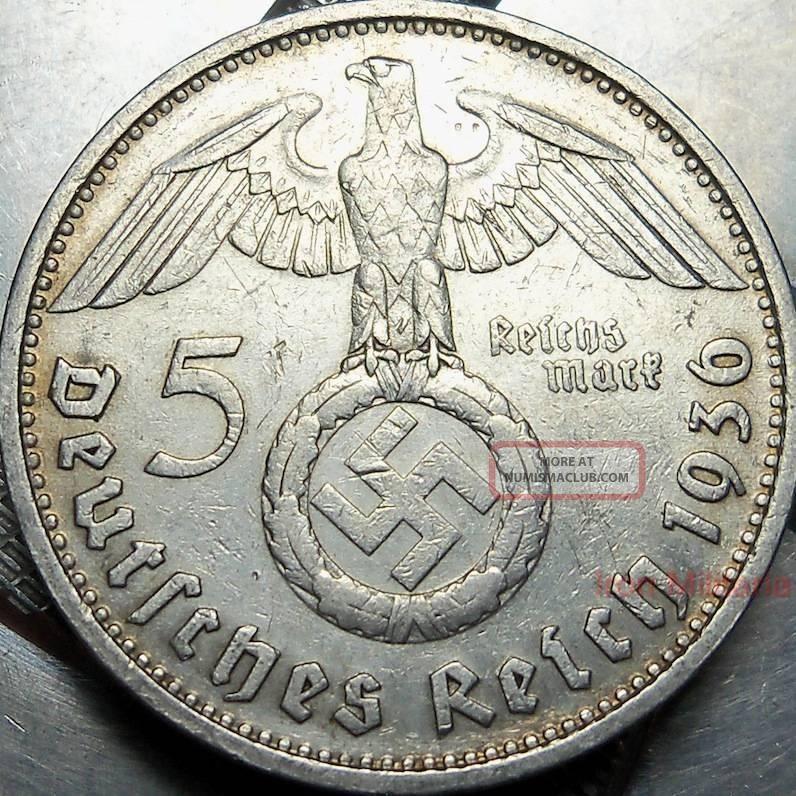 German 5 Mark Swastika Coin 1936d 90 Silver Munich Nazi