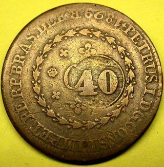 1829 Brazil Bahia 80 Reis Counterstamped To A Lower Value 40 Reis Pedro I photo