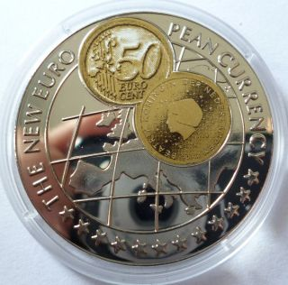 Uganda 1000 Shillings 1999 Proof Euro Currency With Netherlands 50 Euro Cent photo