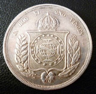 Brazil 500 Reis 1865 Silver Coin Pedro Ii Crowned Arms Within Wreath photo