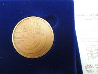 1997 Israel 50th Anniv.  A Jubilee For You State Medal 38.  5mm 28g Bronze+case+coa photo