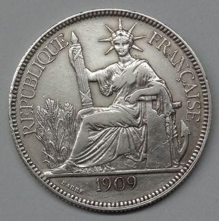 Franch Indo - Chaina - 1909a - 1 Piastre - Km5a1 - Silver photo