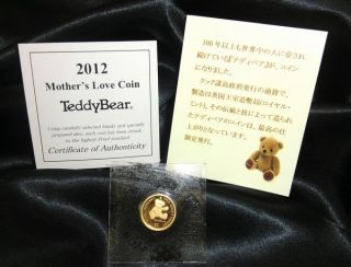 2012collectible Teddy Bear Cook Islands Solid Gold 24k 999.  9 1/20oz Limited Coin photo