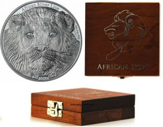 African Lion 4 Oz Silver Coin,  Only 400 Made,  5000 Francs Congo,  2013 + Box photo