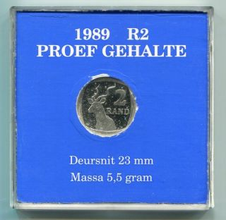 South Africa 1989 Official R2 Proof Coin photo