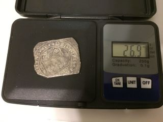 1733 Mf Silver Mexico City 8 Reales Klippe Square Cut Philip V Cob photo