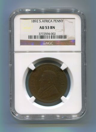 South Africa Zar Ngc Graded 1892 Kruger Penny Au 53 Bn photo