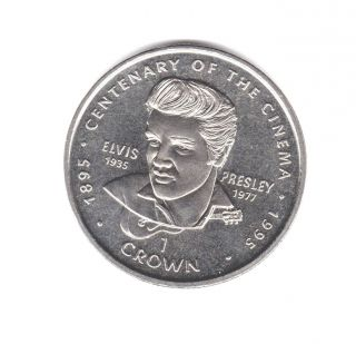 Elvis Coin - Queen Elizabeth Ii - Gibraltar 1996 - 1 Crown Coin - Cent.  Of Cinema photo