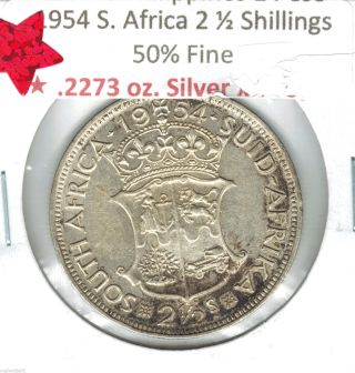 1954 South Africa Silver 2 1/2 Shilling Some Luster And Toning photo