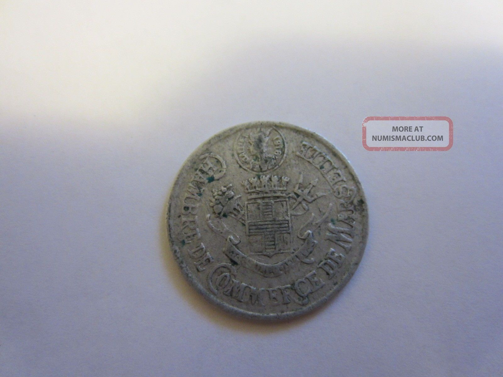World War One Chamber Of Commerce Marseille France 1916 10 Cent Coin Europe photo