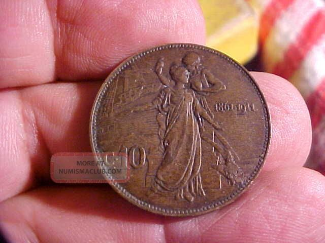 Italy Vittorio Emanvele Iii C 10 1861 - 1911 Silver Coin Old Dark Patina Seaside Italy, San Marino, Vatican photo