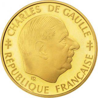 Vème République (1959 -),  1 Franc Charles De Gaulle,  Épreuve Or photo