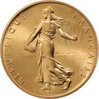 Vème République,  1 Franc Semeuse,  Piéfort En Or,  1972 photo