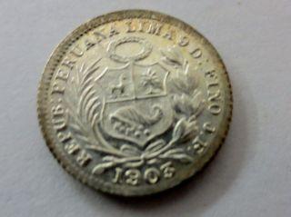 Rare Uncirculated 1903 Struck Over 93 Peru Lima 1/2 Silver Dinero Coin photo