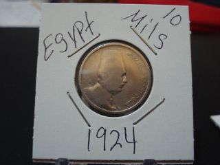 Egypt 1924 King Faud 10 Millieme Coin.  Km 334 photo