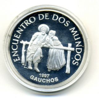 Uruguay 250 Pesos 1997 Gauchos Km 114 Proof Ref 2 photo