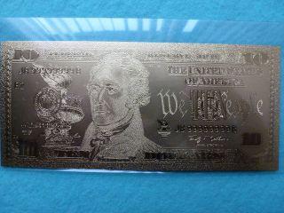10 - Dollars Bill 24 K.  Gold. photo