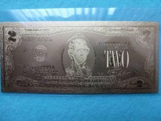 2 - Dollars Bill - 24 K.  Gold. photo