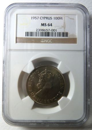 Ngc Ms 64 Cyprus 100 Mils 1957 State Zypern Chypre Chipre Cipro Greece photo