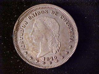 Colombia Km153.  1,  5 Decimos 1870 photo