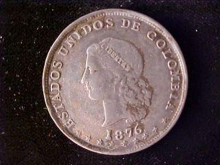 Colombia Km153.  5,  5 Decimos 1876 photo