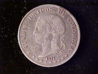 Colombia Km160,  2 Decimos 1874 photo