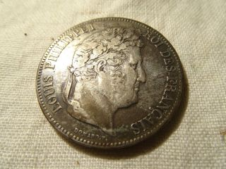 France 5 Francs 1834 French Coin.  Nr photo