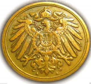 ♡ Germany - German Empire 1901a Pfennig Coin - Rare - 100 Years & Older photo