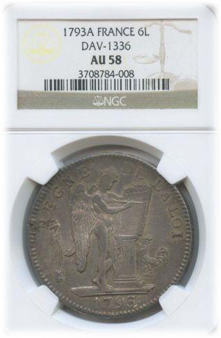 1793 A France 6 Livres Dav - 1336 Au 58 | Ngc Graded photo