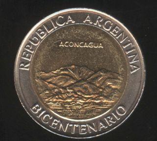 Argentina 1 Peso Bimetallic 200th Anniversary Independence Aconcagua Unc photo
