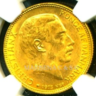 1915 Vbp Denmark Gold Coin 20 Kroner Ngc Cert.  Ms 62 Brilliant Luster photo