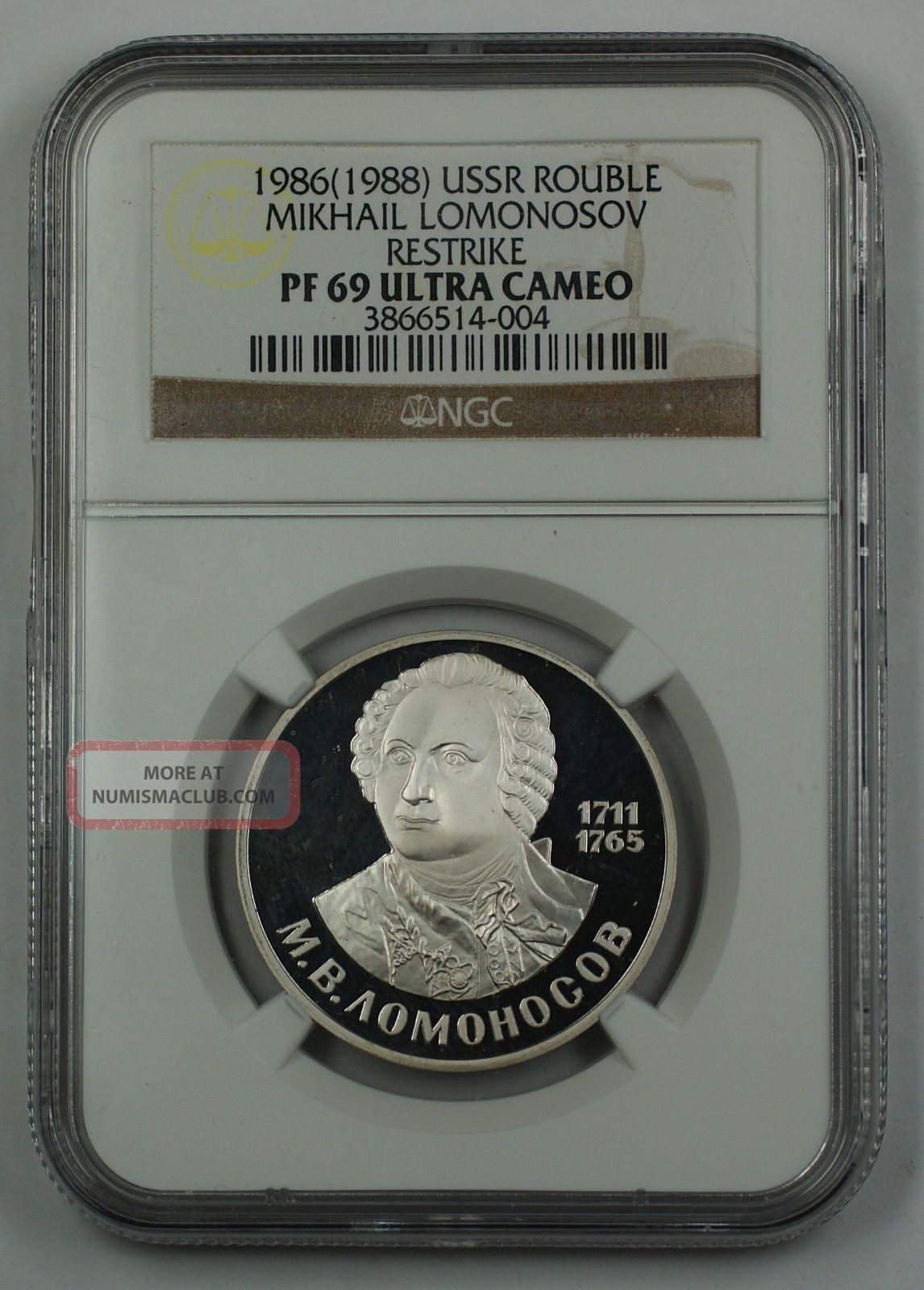 1986 (1988) Ussr Rouble Mikhail Lomonosov Restrike Coin Ngc Pf - 69 Ultra Cameo Russia photo