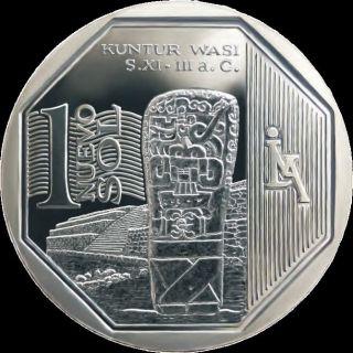 Peru Coin 1 Nuevo Sol Kmnew Unc 2012 - Kuntur Wasi photo