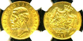 1883 B Romania Carol I Gold Coin 20 Lei Ngc Cert Au 58 Marvelous Royal Luster photo