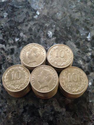 1952 (f) El Salvador 10 Centavos Unc Copper - Nickel Coin Km 130a Francisco Morazan photo