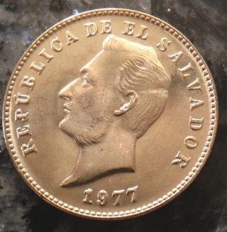 1977 (h) El Salvador 10 Centavos Bu Copper - Nickel Coin Km - 150a Francisco Morazan photo