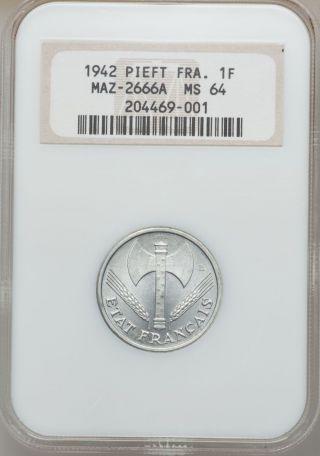 France,  1942,  1 Franc [essai + Piefort] [mazard 2666a] [ms 64 Ngc] [rare] photo