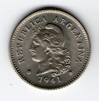 Argentina,  Republic.  10 Centavos Coin 1941 - Au Km 35 photo