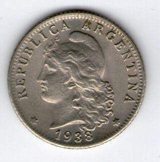 Argentina,  Republic.  20 Centavos Coin 1938 - Au Km 36 photo