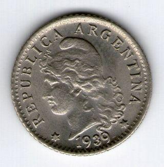Argentina,  Republic.  5 Centavos Coin 1939 - Au Km 34 photo