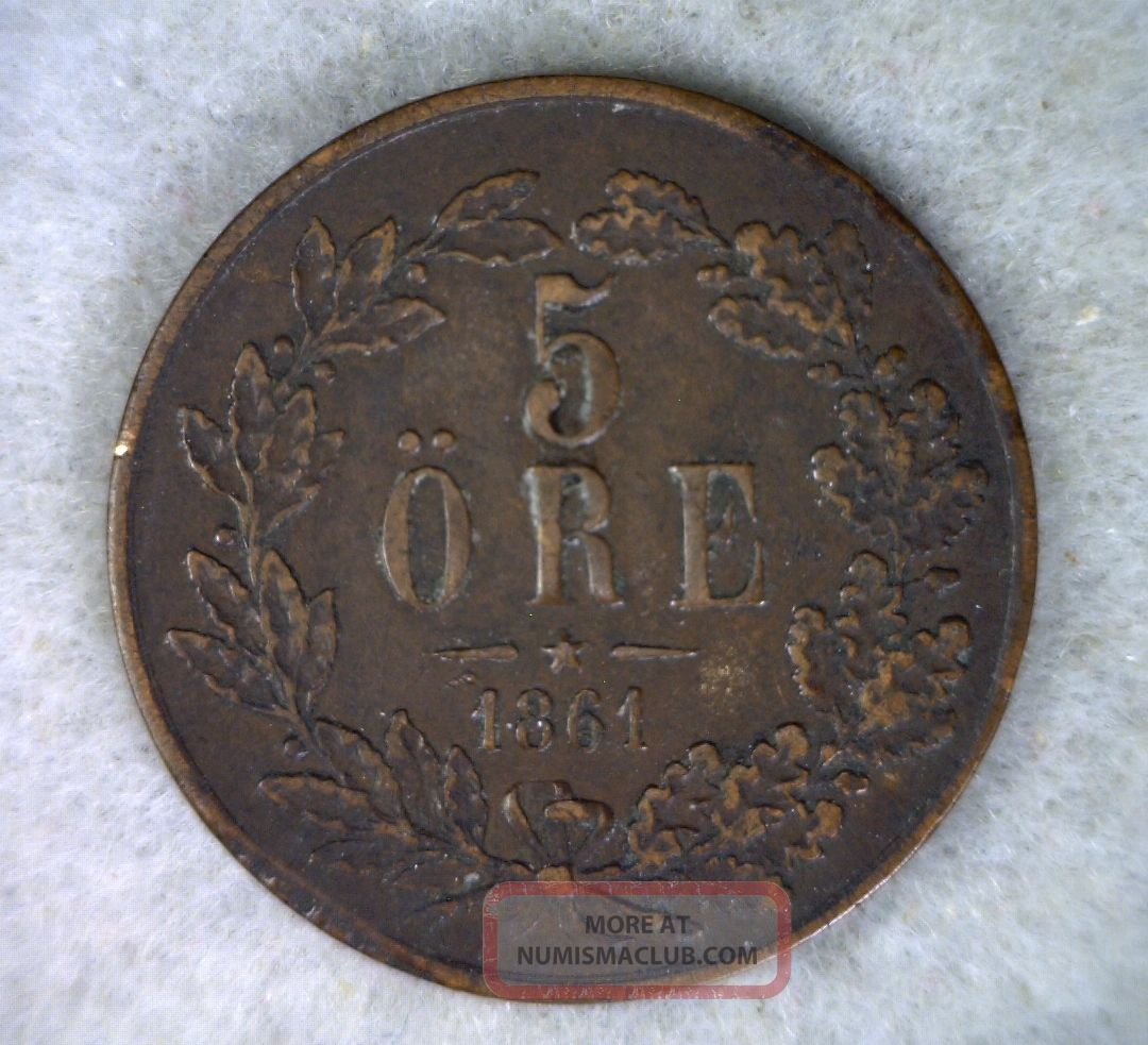 Sweden 5 Ore 1861 Very Fine Swedish Coin Europe photo