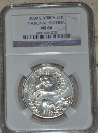 2009 South Africa National Anthem Unc Silver Coin Ngc Graded Ms66 Only587 Minted photo