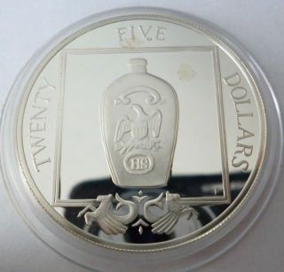 British Virgin Islands 25 Dollars 1988 Silver Coin Proof American Bottle photo