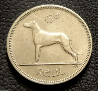 Ireland,  1968 6 Pingin / 6 Pence Irish Wolfhound Coin photo