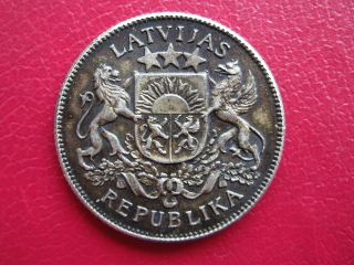 Patina And Unc Latvia 2 Lati 1925 Silver Coin photo
