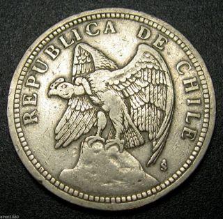 Chile 1 Peso Coin 1933 Km 176.  1 Eagle photo
