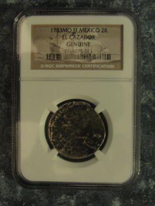 1783mo Ff Mexico 2r El Cazador Ngc Certified Shipwreck Coin photo